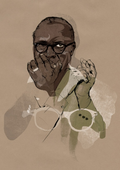 Sonny Terry portrait used for a promotional mail-out