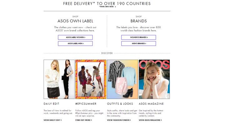 screenshot of asos homepage